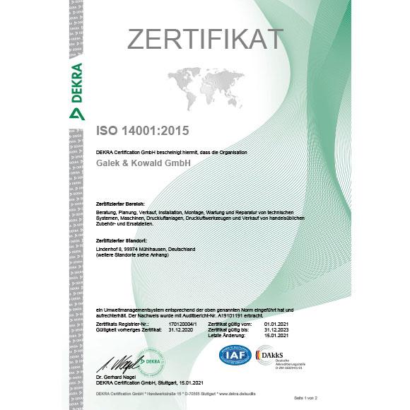ISO 14001:2015 Zertifikat Umweltmanagementsystem