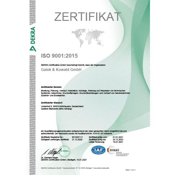 ISO 9001:2015 Zertifikat Qualitätsmanagementsystem