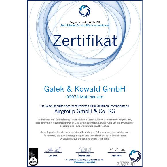 Airgroup Zertifikat: Galek & Kowald Mühlhausen ist Gesellschafter des zertifizierten Druckluftfachunternehmens